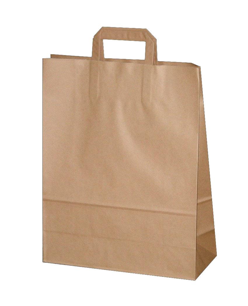 Бумажные пакеты с плоскими ручками (Крафт)